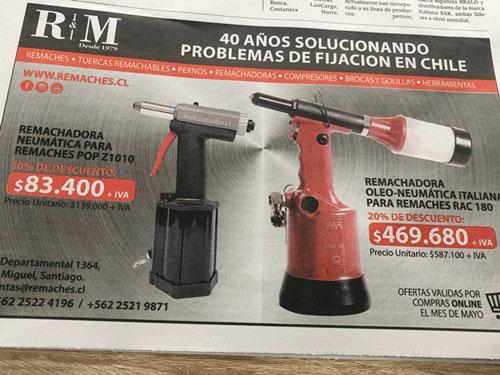 Los reyes del remache en Chile / Hoy en la edición  El constructor del diario La Cuarta.